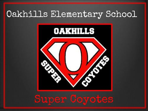 "Super Coyote Back to School Night - Oakhills Super Coyotes - Oakhills Elementayr School - there is a logo in the middle that is similar to the superman ""S"" except rather than an ""S"" there is a large ""O""."